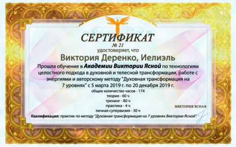 Сертификаты выпускников Академии Света 2019
