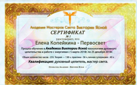 Сертификаты выпускников Академии Света 2018
